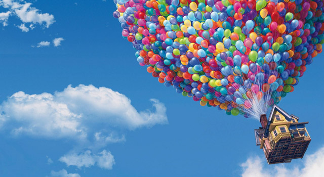 Up - balloons carrying house